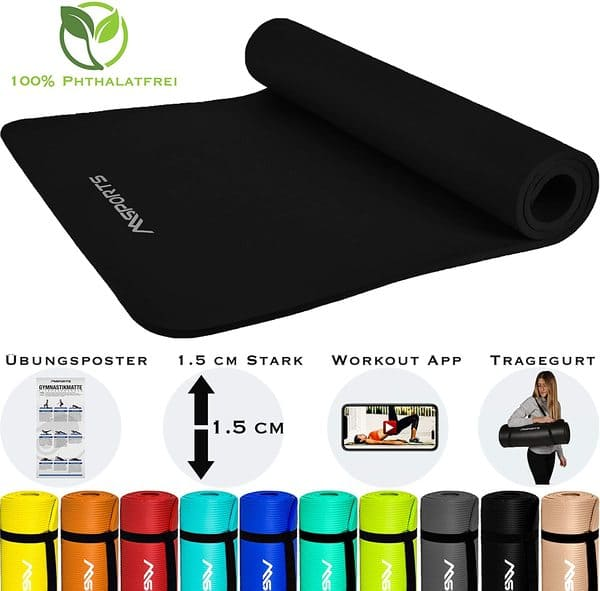 MSPORTS Gymnastikmatte Premium inkl. Tragegurt, Übungsposter + Workout App
